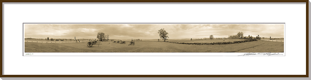 Framed and matted 360 degree panoramic photograph | The Angle | Gettysburg National Battlefield | James O. Phelps | 360 Degree Panoramic Photography