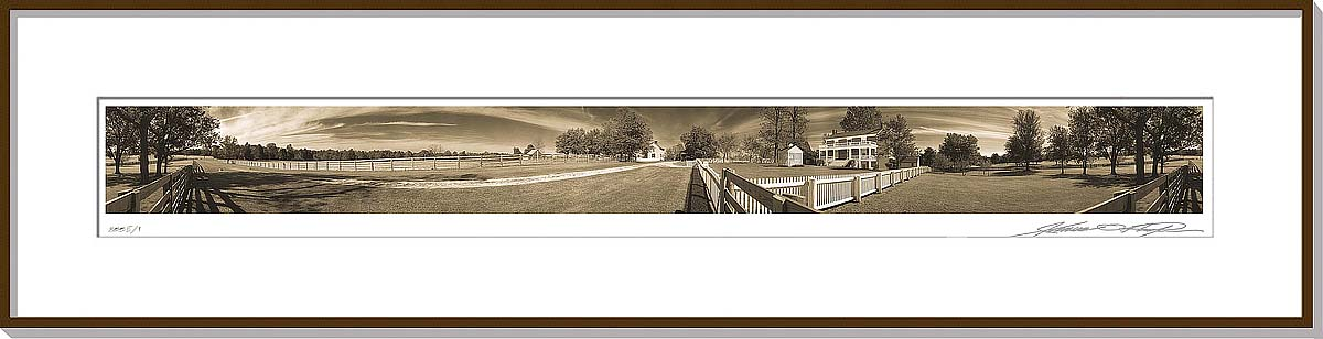 Framed and matted 360 degree panoramic photograph | Appomattox Virginia | Appomattox Court House | James O. Phelps | 360 Degree Panoramic Photography