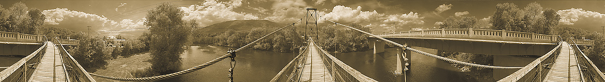 Buchanan | Suspension Bridge | James River | The Blue Ridge Mountains | Virginia | James O. Phelps | 360 Degree Panoramic Photograph