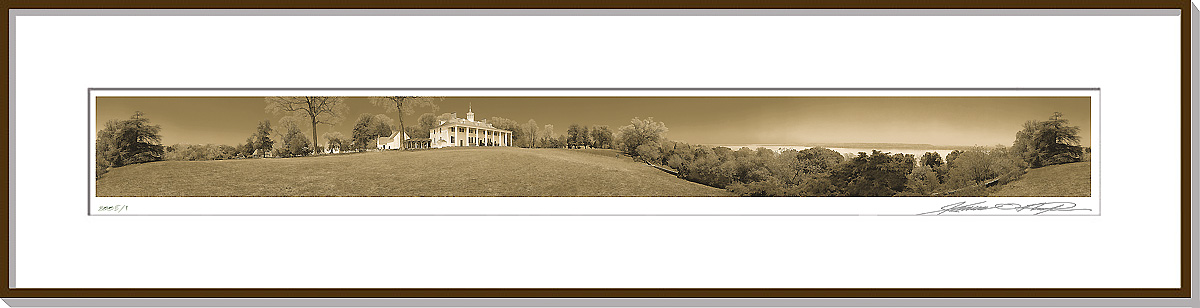 Framed and matted 360 degree panoramic photograph | Mount Vernon East Front | James O. Phelps | 360 Degree Panoramic Photography